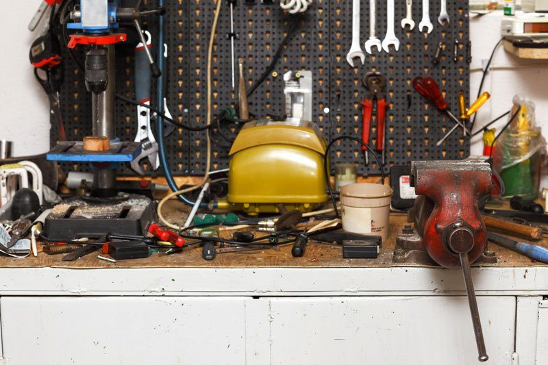 organize garage workbench